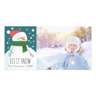 Snowman Let it Snow Whimsical Holiday Photo Card