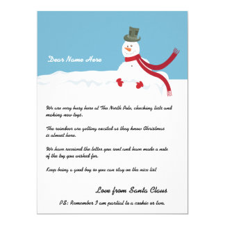 Snowman Letter From Santa Personalized 6.5x8.75 Paper Invitation Card