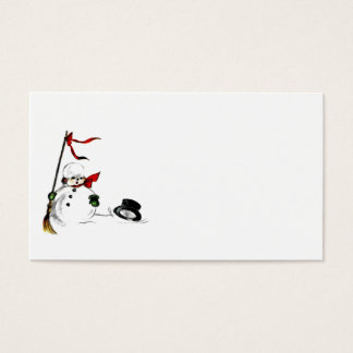 Snowman Loses His Top Hat Business Card