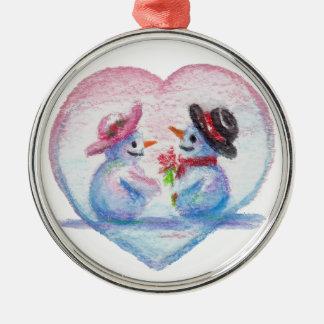 Snowman Love aceo Ornament