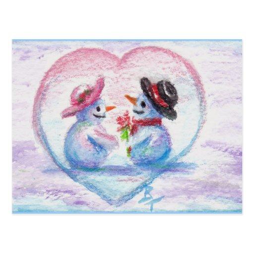 Snowman Love aceo Postcard