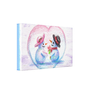 Snowman Love aceo Wrapped Canvas