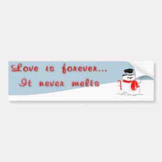 Snowman Love Forever Bumper Sticker Car Bumper Sticker