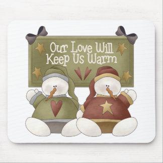 Snowman Love Mouse Pad