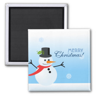 Snowman 2 Inch Square Magnet