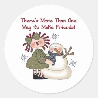 Snowman Making Friends Classic Round Sticker