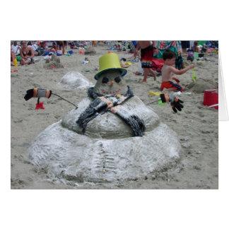 Snowman Melting on the Beach Greeting Card (Blank)