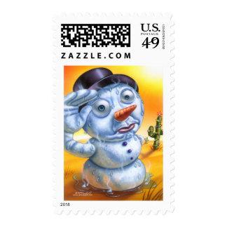 snowman_melting postage stamp