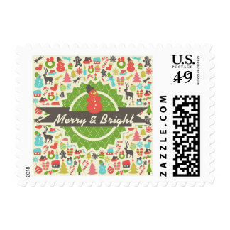 Snowman Merry and Bright Retro Christmas Postage