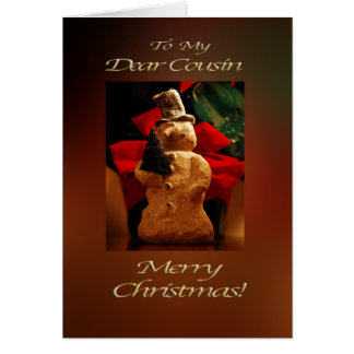 Snowman Merry Christmas  - Cousin Greeting Card