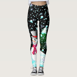 "Snowman ""Merry Christmas"" personalised Leggings"