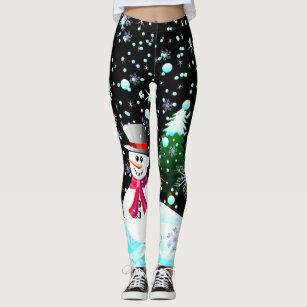 snowman merry christmas personalised leggings