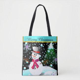 "Snowman ""Merry Christmas"" personalised Tote Bag"