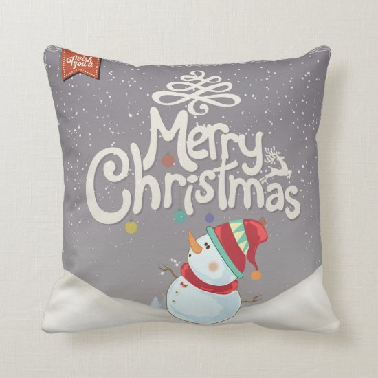 Snowman Merry Christmas Pillow