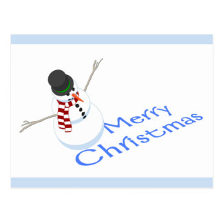 Snowman Merry Christmas Postcard