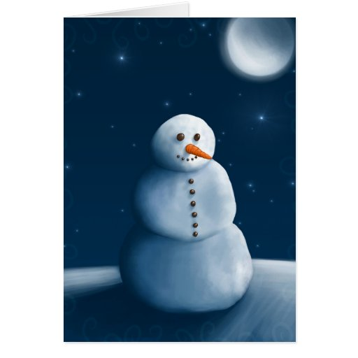 Snowman moonlighting greeting cards