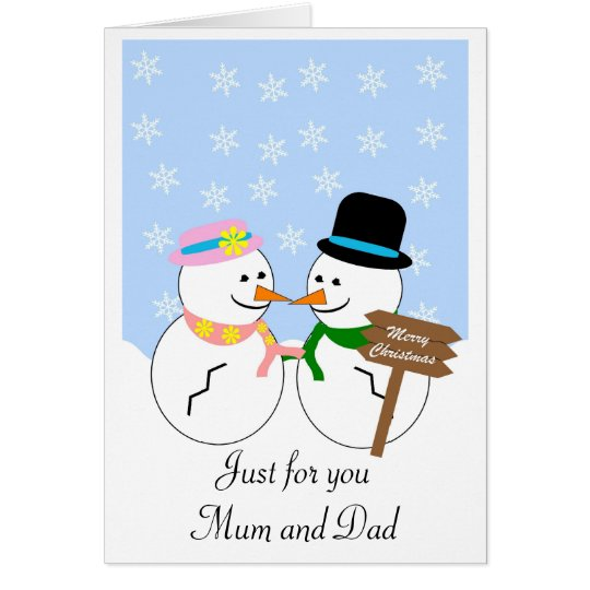 Snowman Mother And Father Christmas Card