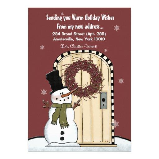 Snowman Moving Announcement Card