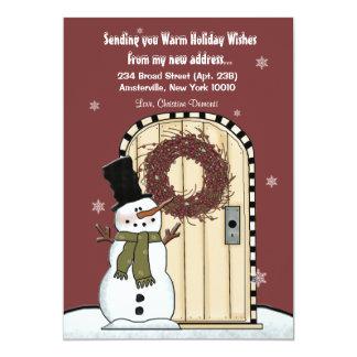 """Snowman Moving Announcement Card 5"""" X 7"""" Invitation Card"""