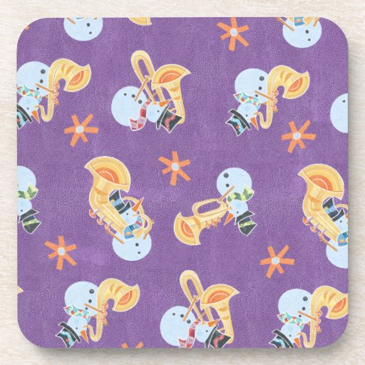 Snowman Musicians Making Christmas Holiday Music Beverage Coasters