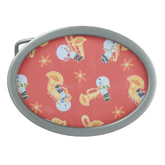 Snowman Musicians Making Christmas Holiday Music Oval Belt Buckle