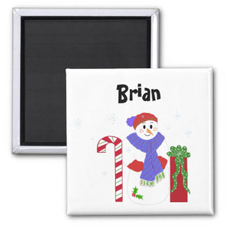 Snowman Name Tag 2 Inch Square Magnet