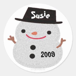 Snowman Name Tag Gift Sticker