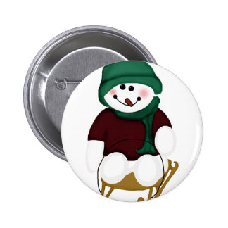 Snowman on a Sled Pinback Button