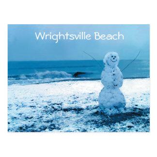 Snowman on Beach Postcard