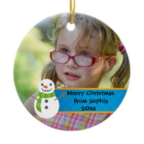 Snowman on Blue and Red Merry Christmas Photo Ceramic Ornament