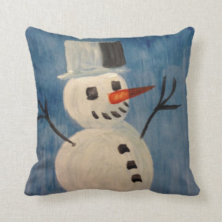 Snowman on Blue Throw Pillow