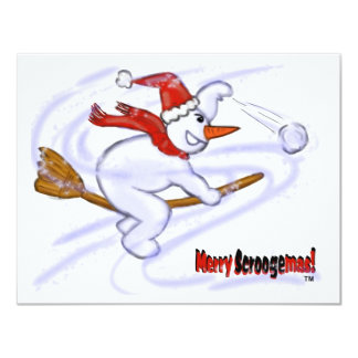 Snowman On Broom 4.25x5.5 Paper Invitation Card