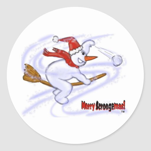 Snowman On Broom Throwing Snowball Classic Round Sticker