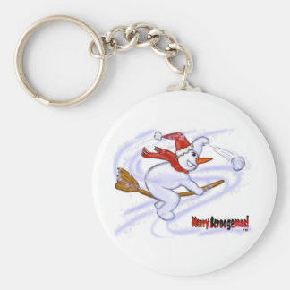 Snowman On Broom Throwing Snowball Keychain