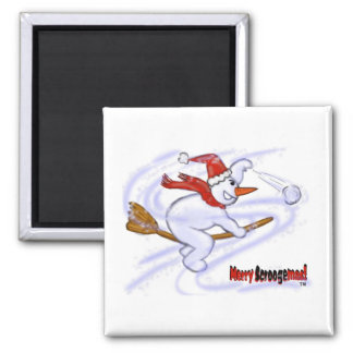 Snowman On Broom Throwing Snowball Magnet