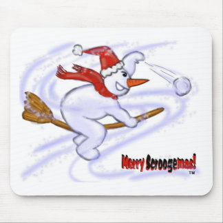 Snowman On Broom Throwing Snowball Mouse Pad
