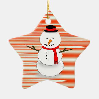 Snowman on Candycane-striped star ornament