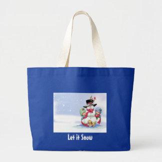 Snowman on christmas scene canvas bags