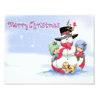 Snowman on christmas scene personalized announcements