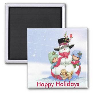 Snowman on christmas scene magnets