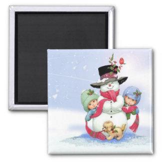 Snowman on christmas scene magnet