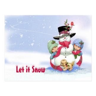 Snowman on christmas scene postcard