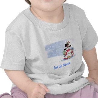 Snowman on christmas scene tee shirt