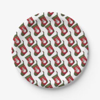 Snowman on Christmas Stocking 7 Inch Paper Plate