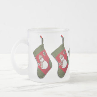 Snowman on Christmas Stocking Frosted Glass Coffee Mug
