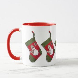 Snowman on Christmas Stocking Mug