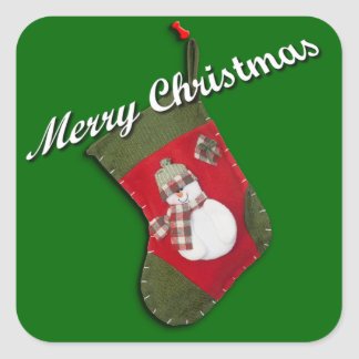 Snowman on Christmas Stocking Over Green Square Sticker