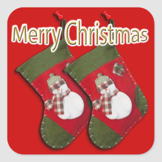 Snowman on Christmas Stocking Over Red Square Sticker