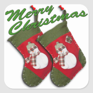 Snowman On Christmas Stocking Over White Square Sticker
