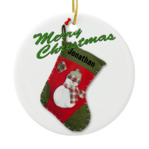 Snowman on Christmas Stocking Photograph Ceramic Ornament